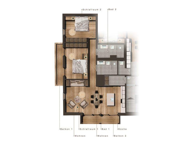 Grundriss Lackenkogel - Appartement in Eben im Pongau, Salzburger Land